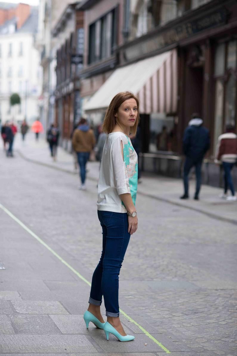 Blouse Ichi Green par la créatrice Julie Laurent | Jupette & Salopette