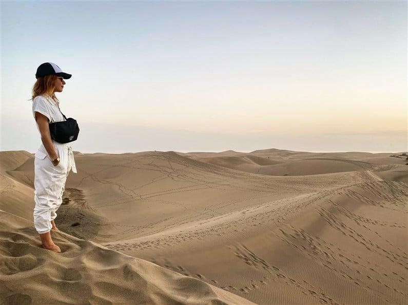 Coucher de soleil dans les dunes de Maspalomas | Jupette & Salopette